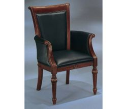 Leather Guest Chair with Wood Frame