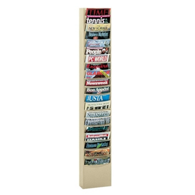 Wallmount Literature Rack with 20 Magazine Pockets