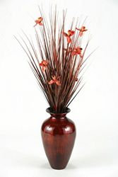"Brown Ting With Red Blossoms- 56""H"
