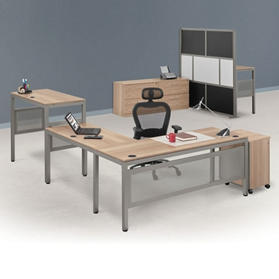 At Work Executive L-Desk Suite in Warm Ash