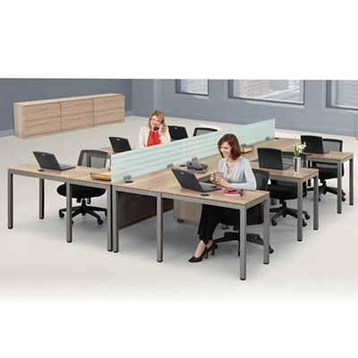 At Work Six Person Compact L-Desk Set