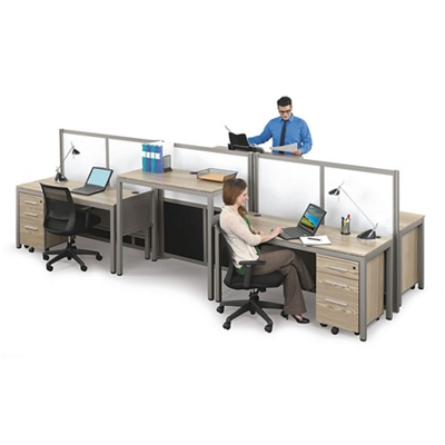 At Work Four Person Station with Dividers