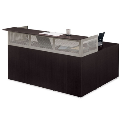 At Work Reversible L-Desk with Pedestal