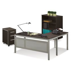 At Work Compact L-Desk with Mobile Pedestal and Bookcase Set