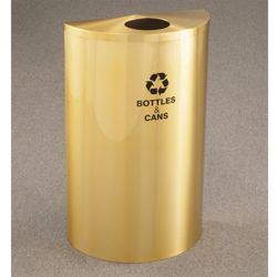 Satin Brass Half Round Bottles and Cans Receptacle with Steel Liner