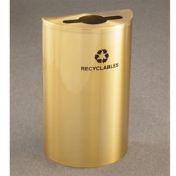 Satin Brass Half Round Mixed Recycling Receptacle with Steel Liner