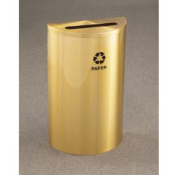 Satin Brass Half Round Paper Recycling Receptacle with Steel Liner