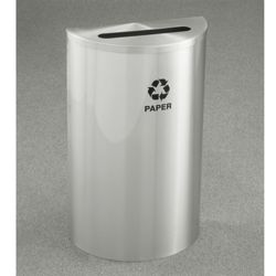 Satin Aluminum Half Round Paper Recycling Receptacle with Steel Liner