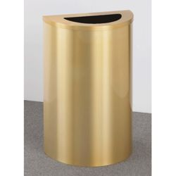 Satin Brass Half Round Waste Receptacle with Steel Liner