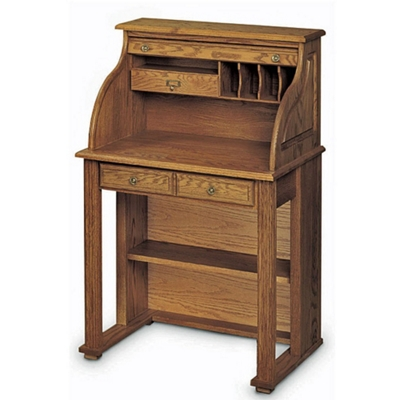 "Solid Wood Compact Roll Top Writing Desk - 29""W x 22""D"