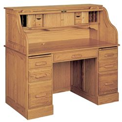 "Double Pedestal Solid Wood Roll Top Desk - 54""W x 29""D"