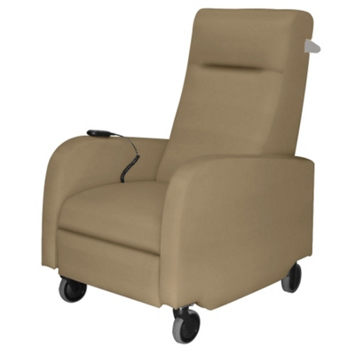 Haley Battery Powered Vinyl Patient Recliner with Aluminum Finish Push Bar