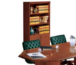 Traditional Five Shelf Bookcase with Doors