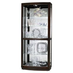 "Five Shelf Mirrored Back Display Cabinet - 82"" H"