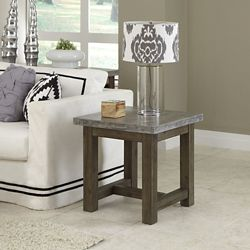 """Concrete Top End Table with Wood Frame - 22""""W"""