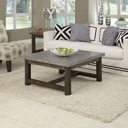 """Concrete Top Coffee Table with Wood Frame - 36""""W"""