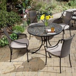 Five Piece Outdoor Patio Set with Slope Arm Chairs
