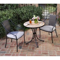 Three Piece Terra Cotta Outdoor Patio Set with Slope Arm Chairs