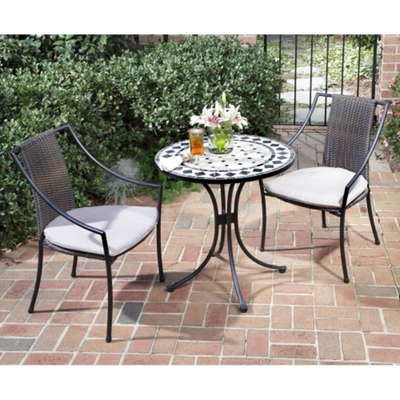 Three Piece Marble Tile Outdoor Patio Set with Slope Arm Chairs