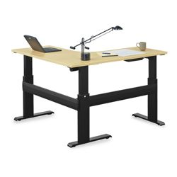 "Stature 72""W Adjustable Height L-Desk with 60""D Left Return"
