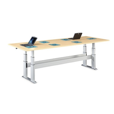 """Meridian Adjustable Height Rectangular Conference Table - 120""""W x 54""""D"""