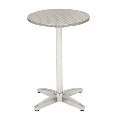 "32"" Round Bar-Height Stainless Steel Outdoor Table"