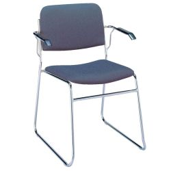 Chrome Sled Base Stack Chair with Arms