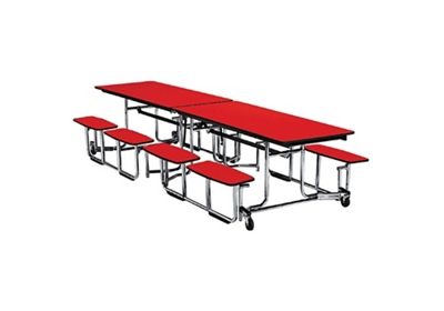 """Fold and Roll Split-Bench Table with Chrome Frame 30"""" W x 144"""" L"""