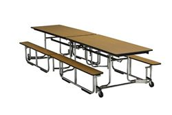 """Fold and Roll Table Bench Unit with Chrome Frame 30"""" W x 144"""" L"""