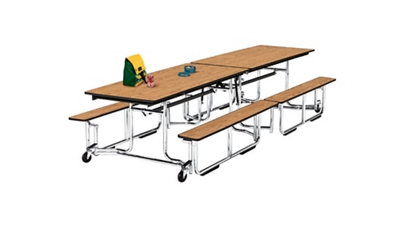 Cafeteria Table 12' Long with Bench Seating