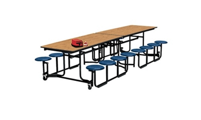 12' Long Cafeteria Table with 16 Stools with Black Edge and Frame