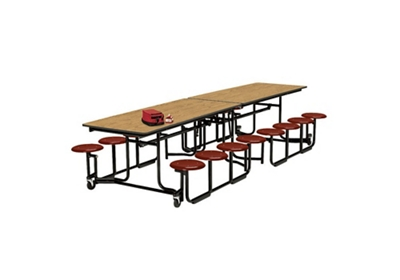 10' Long Cafeteria Table with 12 Stools with Black Edge and Frame