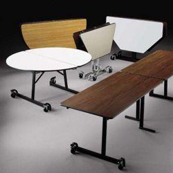 """Round Black Frame Mobile Folding Table- 60"""" Diameter"""