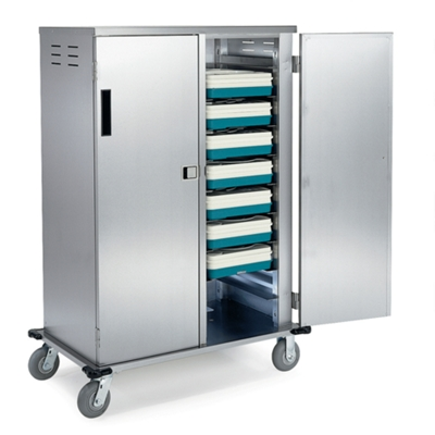 "45""W x 27""D Compact Enclosed 20 Tray Delivery Cart"