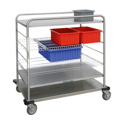 "44""H Stainless Steel Multi-Use Wire Open Case Cart"