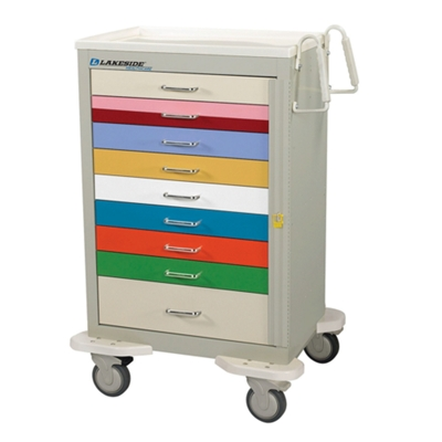 Color Coded 9 Drawer Pediatric Cart