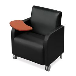 Vinyl Club Chair with Tablet Arm