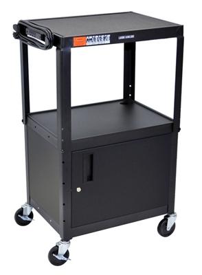 Adjustable Height Steel AV Cart with Cabinet