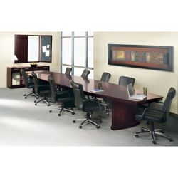 Panel Base Conference Table Set with 10 Chairs - 12'