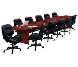 18' Conference Table with 11 Leather Chairs