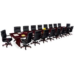 Panel Base Conference Table Set with 18 Chairs - 24'