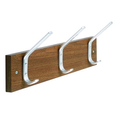 "Laminate Three Double Hook Coat Rack - 18""W"