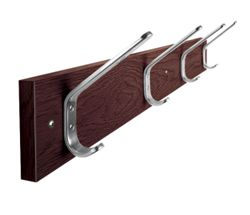 "Laminate Four Double Hook Coat Rack - 34""W"