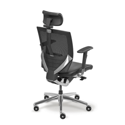 Arris High-Back Mesh Chair with Memory Foam Leather Seat