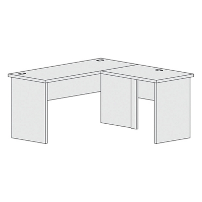 "L-Shaped Workstation with Reversible Return - 60""W"