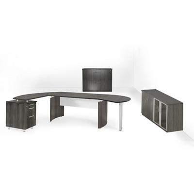Executive Left L-Desk with Wall Storage