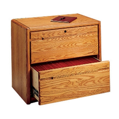 "Medium Oak Two Drawer Lateral File - 33.75""W"