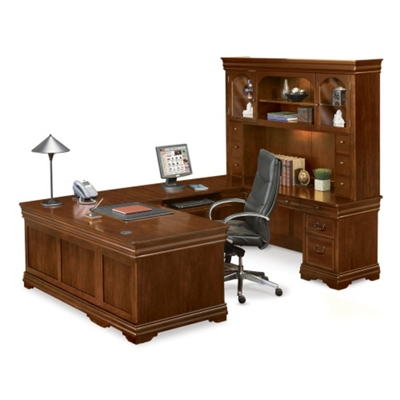 U Shaped Desk Shop Wrap Around Desk With Desk Hutch NBFCom   U Shaped Office  Desk