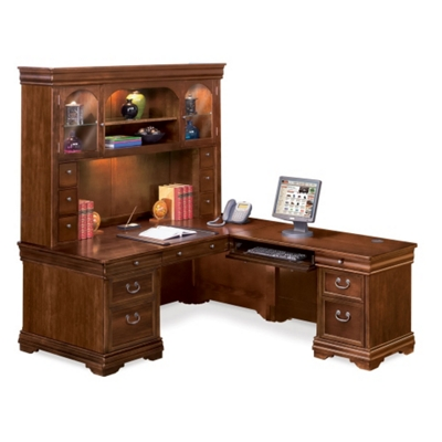 Pont Lafayette L-Desk with Right Return and Hutch Set