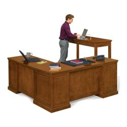 Statesman Executive L-Desk and Standing-Height Desk Set
